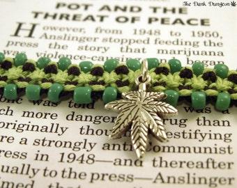 Beaded Hemp Cannabis Roach Clip Bracelet, Macrame Hemp Bracelet, 420 Stoner Bracelet, Hemp Roach Clip, Green Black Pot Leaf Hemp Bracelet