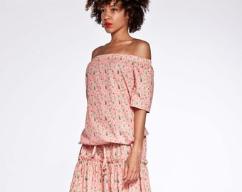 SUPER Sweet pink poplin midi dress with Off Shoulder and Ruffle Hem on SALE NOW