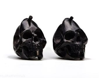 Skull Post Earrings Hand Handmade Black Horn Hoop Earrings Tribal Style - Gauges Plugs Horn - PE030 H Small G1