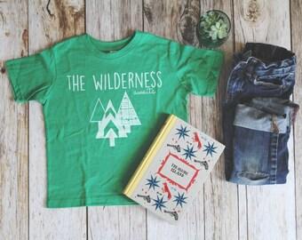Kids Wilderness is Waiting T-shirt, Kids Clothing, screen printed tee