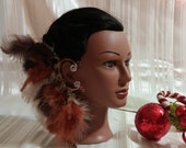 Ear Cuff American Indian Tribal Feather Ear Cuff, Bohemian Jewelry, Hippie Earring, Sexy Accessory, Eccentric Feather Headdress