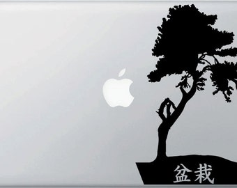 """MB - Zen Garden Bonsai Tree - Kanji -  Vinyl Decal for Macbooks or Laptops  (5.5""""w x 8.5""""h) (BLACK)"""