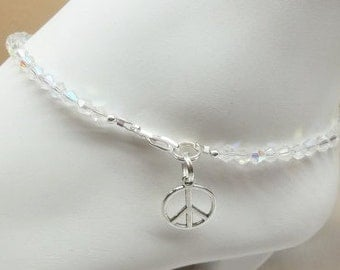 Peace Sign Anklet Clear Crystal Anklet Clear AB Crystal Anklet Peace Sign Ankle Bracelet Sterling Silver Anklet or Plated BuyAny3+Get1 Free