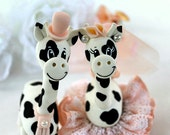 Giraffe wedding cake topper in blush, black and white wedding, custom bride and groom with banner