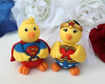 Superhero chick wedding cake topper - comic themed wedding, customizable - nerd wedding - personalized cake topper decor
