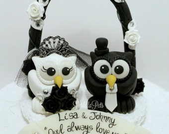 Owl love bird custom wedding cake topper, black and white wedding, gothic cake topper, floral arc and banner