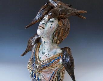 Blackbird Psalm - Ceramic Figurative Sculpture - Home Decor - Narrative Sculpture - Fine Art