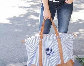 Navy Seersucker Weekender. Monogrammed Overnight Bag. Hospital Bag with Monogram. Weekend Getaway.
