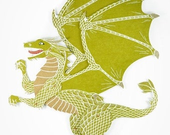 Dragon articulated paper doll Rhaegal paper puppet unique and unusual gift birthday present whimsical paper decoration game of thrones