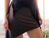 SALE GET 30% OFF Pixie Skirt, Tribal skirt, Burning Man festival mini skirt, Fairy wear, Psy clothes, Gray Black skirt, psy trance goa