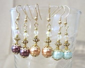 Colored Pearl & Iridescent Crystal Gold Wedding Dangle Earrings, Handmade Original Fashion Jewelry Classic Elegant Style Bride or Bridesmaid