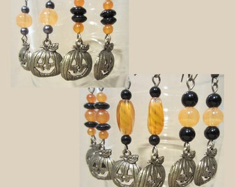 Orange & Black Bead Bronze Smiling Pumpkin Dangling Earrings, Handmade Autumn Fall Color Fashion Jewelry, Cute Spooky Fun Happy Halloween