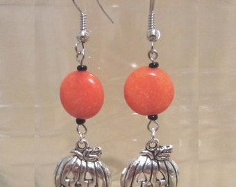 Orange Jade & Black Beaded Dangle Earrings w/ Smiling Silver Jack O'Lanterns, Cute Playful Handmade Laughing Pumpkins Fashion Jewelry Autumn