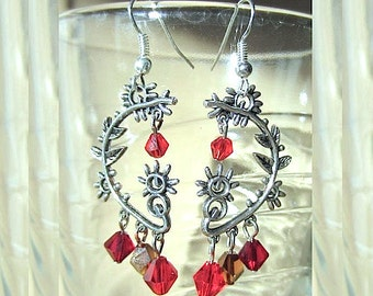 Silver Plated Unique Abstract Flower Earrings w/Fall Color Crystals, Helix Crystal Beaded Earrings, Red Earrings Handmade Beaded Jewelry