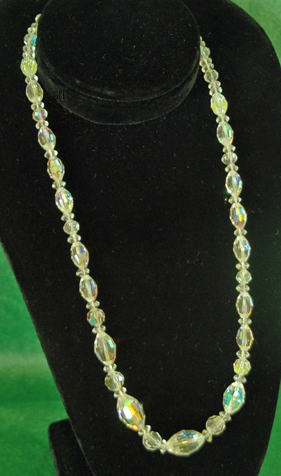 "Reduced: 1940-50s Sparkling Vintage SWAROVSKI AUSTRIAN CRYSTAL Necklace Aurora Borealis Bohemian Brilliant  22"" Long Exc Condition"