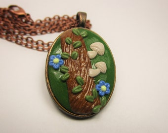Flowers, Vine, and Mushrooms on Log Forest Scene Polymer Clay Cameo Pendant Necklace