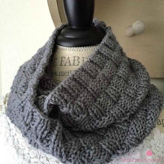 Knitting Basket Weave Stitch Scarf : Knit Basketweave Cowl Grey Infinity Scarf Double Wrap Knit