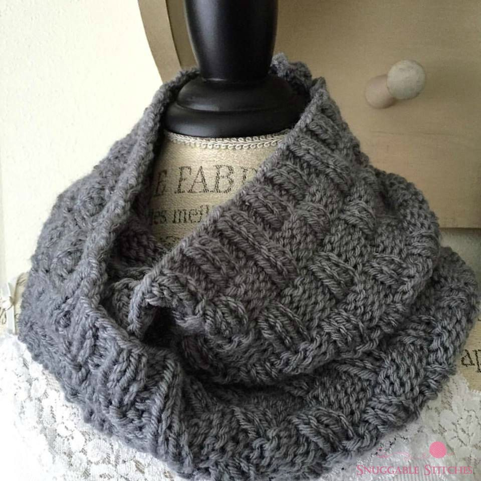 Free Knitting Pattern For Basket Weave Scarf : Knit Basketweave Cowl Grey Infinity Scarf Double Wrap Knit