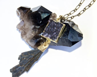 Druzy- Druze-Amethyst-deep purple-Raw mineral- Crystal- Sparkling Necklace with Kyanite 'tassel'