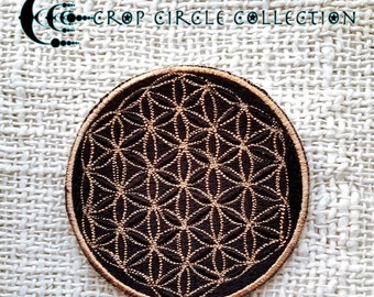 Sacred Geometry Crop Circle Patches - Flower of Life Patches - Crop Circle Collection (30 BLACK GOLD)