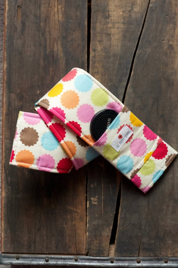 Camera Strap Cover- lens cap pocket and padding included- Spunky Colorful Dots