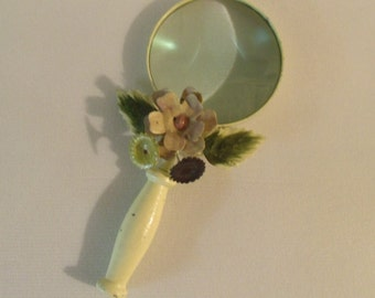 Vintage Magnifying Glass Art Deco Metal Handle Metal Flowers