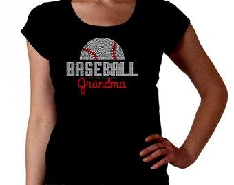 Baseball Grandma RHINESTONE t-shirt tank top sweatshirt S M L XL 2XL - Sports team bling mlb american national league mema nonna Abuela
