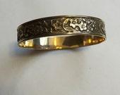 Vintage Etched Floral Bangle Bracelet
