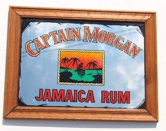 Vintage Captain Morgan Jamaica Rum Mirror- Retro Home Decor -Alcohol Collectable - Caribbean Rum -wood frame - Pirate-cocktail- Home bar