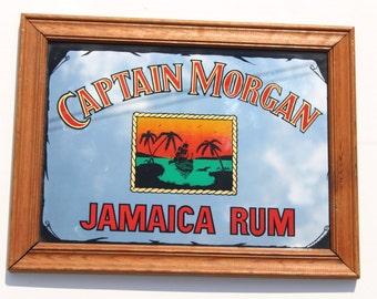 Vintage Captain Morgan Jamaica Rum Mirror- Retro Home Decor -Alcohol Collectable - Caribbean Rum -wood frame - Pirate-cocktail- Home bar