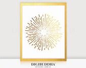 BURST Gold Foil Print 8x10 or 5x7 Abstract Fireworks Circle Concentric Lines Sun Starburst Poster Wall Art Geometric Metallic Foil Modern