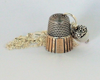Thimble and Acorn Charm Necklace Peter Pan and Wendy Hidden Kisses Solid Sterling Silver