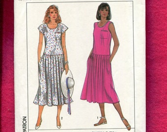 Vintage 1980's Simplicity 9156 Easy Fitting Drop Waist Dress with Pleated Skirt Size Small 10/12 UNCUT