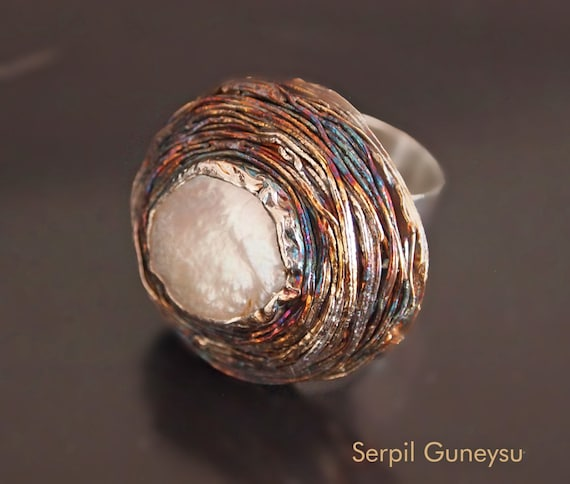"""Large Statement Silver Ring - Bezel Band White Coin Pearl - Soldered & Swirled Wires - Ottoman Jewelry -  Artisan Ring - """" Sultan's Hat """""""