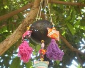 Coconut Lantern With Vintage Textiles And Bead Work