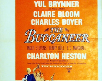 """Buccaneer, The. 1958 Original 14""""x22"""" US Movie Poster. Cecil B. DeMille's Pirates withYul Brynner,Claire Bloom,Charlton Heston,Lorne Greene"""