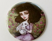Alice and White Rabbit - 2.25 inch Pocket Mirror - Inspired by Alice in Wonderland, Rabbits and Classic Fairytales