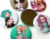 Fairytale Femmes - The Full Set - Five 2.25 inch Pocket Mirrors - Inspired by Alice in Wonderland, Mermaids, Pastel Hair, Magical Creatures