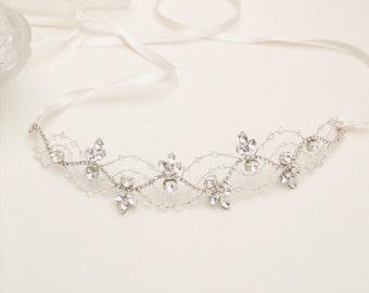Beaded crystal tiara, wedding wire headband, bridal headpiece, filigree hair jewelry, princess diadema, bride silver hairpiece - Style 337