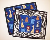 Quilted Snack Mats - Baby Jungle animals  -  Embroidered- small placemats