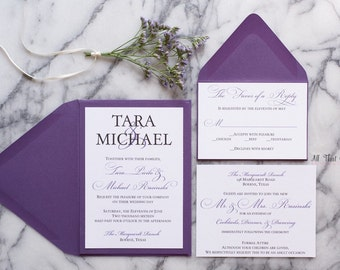 Purple wedding invitation suite, plum wedding invitations, violet wedding invitations with RSVP, Amethyst wedding invitations, Tara