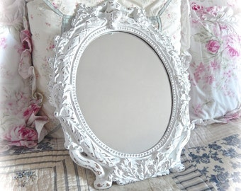 Shabby Vintage Baroque Ornate Winter White Oval Wall Accent Scrolled Fancy Posh Cherub Mirror Cottage Chic READY TO SHIP