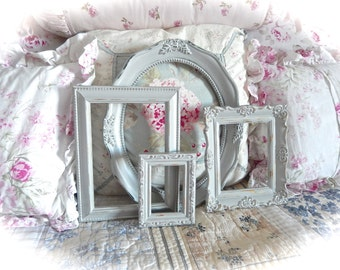 Shabby Vintage Distressed Ornate Driftwood Gray Carved Gesso Picture Photo Frames Set of 4 Cottage Industrial Chic Gender Neutral Nursery