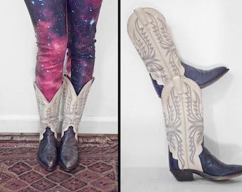 Leather Cowboy BOOTS Code West // Women Size 6 Cream + Blue Pantone 539