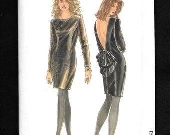 Vintage 1991 Simplicity 7495  Misses' Little Black Dress With Sexy Deep V Back, Long Sleeves, and Jewel Neckline, Sizes 8 To 20, UNCUT
