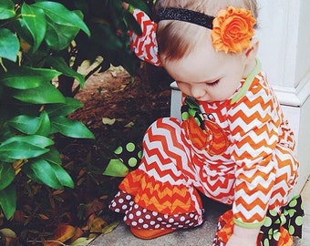 Halloween Baby Headband.  Halloween Glitter Headband. Orange and Black Baby Headband. Orange Flower Headband. First Halloween.