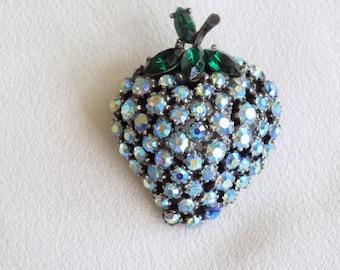 Vintage Signed Art Rhinestone Brooch Blue AB and Emerald Green Rhinestone Strawberry Fruit Pin