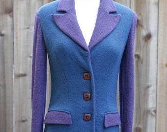 Purple & Teal Wool Blazer - Women's XS/S