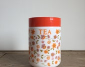 retro French 1970s Arcopal floral 'scania' Tea Canister, Milk Glass storage Jar, Container