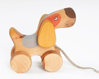 Wooded Pull Toy, Wooden Toy for toddler, Pull Along Dog